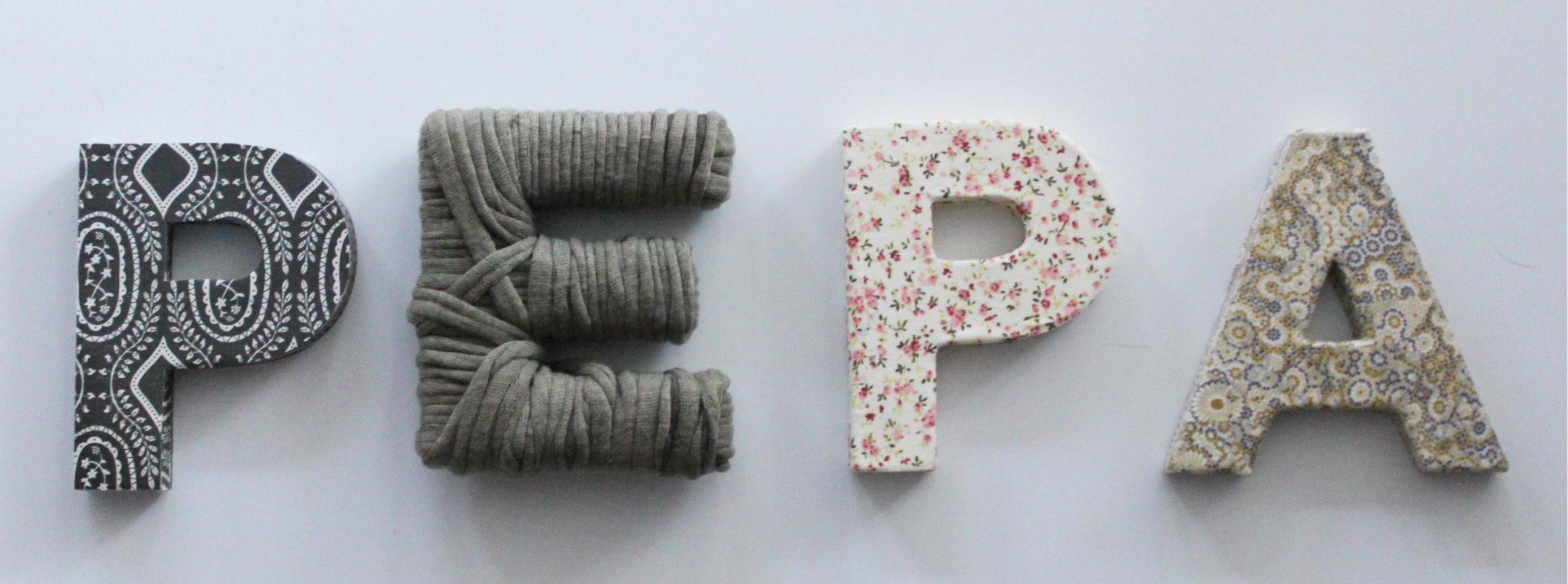 tutorial diy letras forradas Pepa Paper