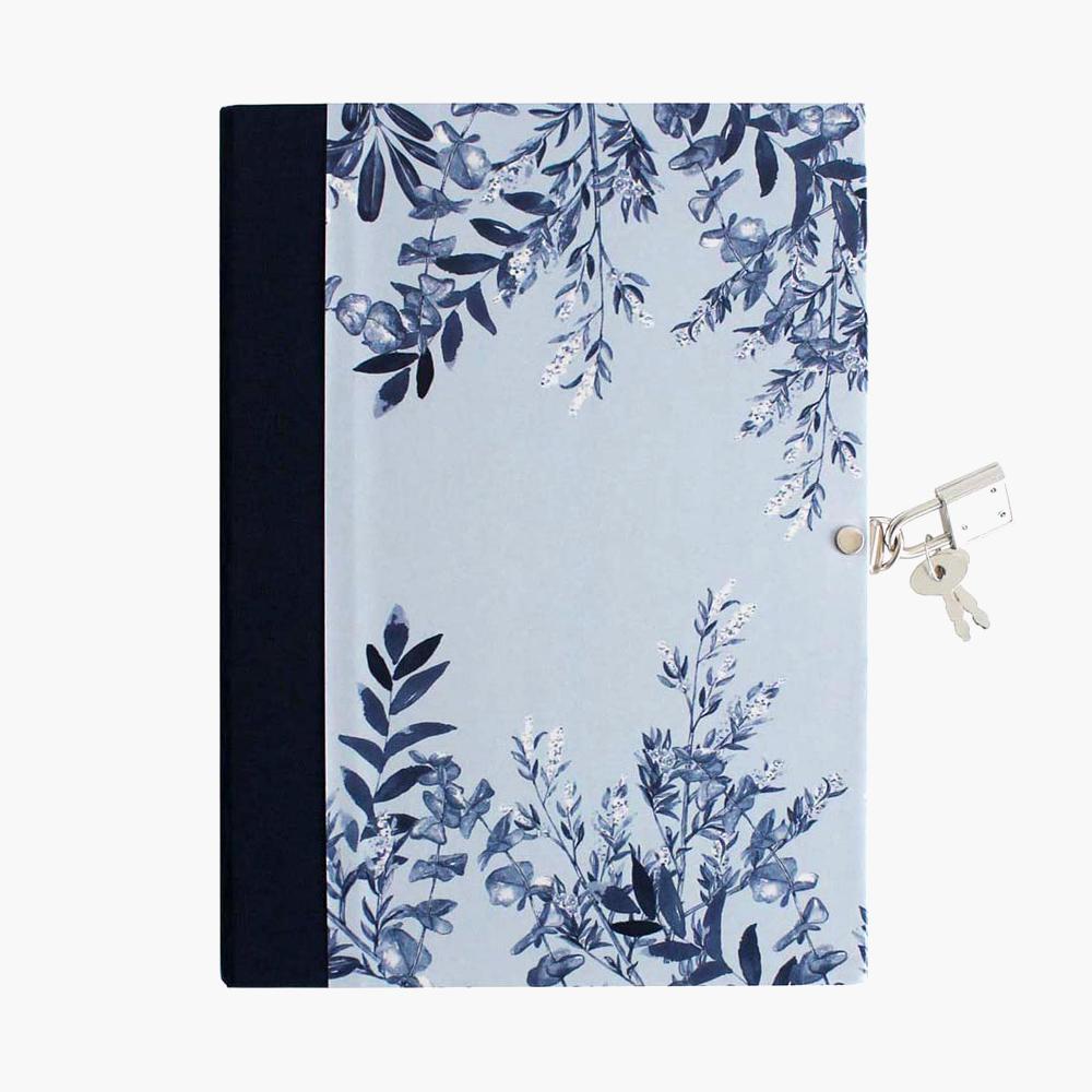 Diarios personales con candado Blue Leaves