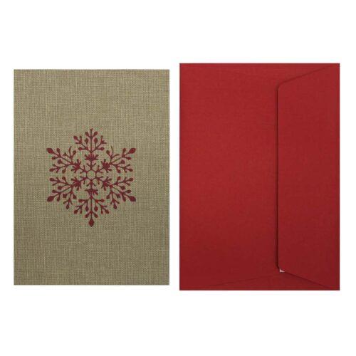 postal-navidena-tela-copo-nieve-rojo